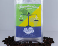 Rally Beans' Neapolitan Blend is a medium-bodied, dark-roasted coffee.