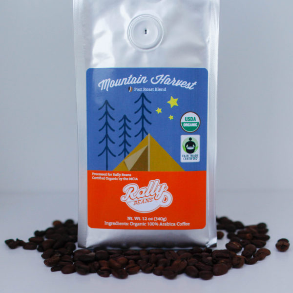 Rally Beans' Mountain Harvest, Fair Trade Certified and Certified Organic, is a rich, smooth and balanced blend of light and dark roasts.
