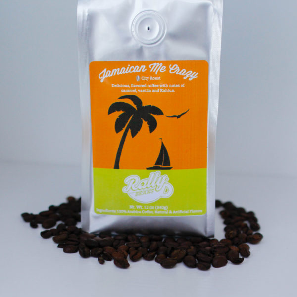 Rally Beans' Jamaican Me Crazy is a delicious coffee, flavored with Kahlua, vanilla and caramel.