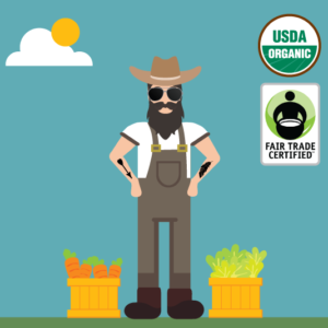 Rally Beans' Dirty Farmer is a Fair Trade Certified and Certified Organic in the coffee fundraiser lineup.